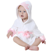 DINGANG® Baby Hooded Bathrobe | Super Soft and Absorbent Cotton Baby Bathrobe with Cute Hooded, Perfect for Baby 0 to 2 Years Old, White