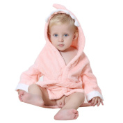DINGANG® Baby Hooded Bathrobe | Super Soft and Absorbent Cotton Baby Bathrobe with Cute Shark Hooded, Perfect for Baby 0 to 2 Years Old, Dark Pink