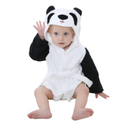 DINGANG® Baby Hooded Bathrobe | Super Soft and Absorbent Cotton Baby Bathrobe with Cute Bear Hooded, Perfect for Baby 0 to 2 Years Old, White Black