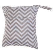 Waterproof Wet Dry Bag Baby Cloth Nappy Nappy Bag Reusable with Two Zippered Pockets Chevron