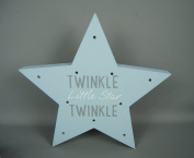 Freestanding Baby Babies Blue LED light up star with TWINKLE TWINKLE LITTLE STAR