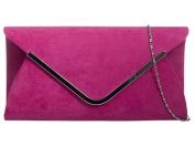 Pink Envelope Clutch Bag, Cerise Faux Suede Evening Bag with Silver Tone Metal Trim, Ladies Fuchsia Shoulder Bag, Prom Wedding Handbag