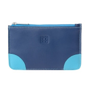 Zip pouch purse for womens Genuine leather Credit card Money holder DUDU Blue