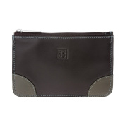 Zip pouch purse for womens Genuine leather Credit card Money holder DUDU Dark Brown