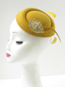 Mustard Gold Feather Pillbox Fascinator Hat Races Vintage Yellow Rhinestone 9Ai *EXCLUSIVELY SOLD BY STARCROSSED BEAUTY*