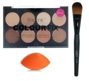 Technic Colour Fix Cream Foundation Contour Palette + LyDia® Black Foundation/Concealer Brush + LyDia® Mini Beauty Sponge Blender