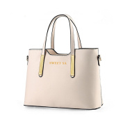 AiSi Euro Style Pure Colour Pu Leather Tote Shoulder Handbag for Women