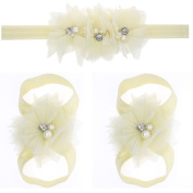ZebraStory Handmade Baby Headband Barefoot Sandals Set Elastic Lace Pearl Flower Foot Band