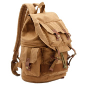 Antique Future Gear Cotton Canvas Camera Backpack Brown