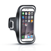Arendo - sweat resistant Fitness Armband for iPhone 6 / 6s etc. | Water repellent | with key trade | high wearing comfort through variable length | including reflective stripes | black