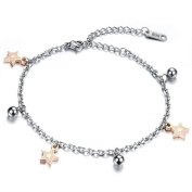 Dazzle Flash stainless steel hypoallergenic five pointed star charm bracelets anklets for foot 2 ways jewellery B222-1