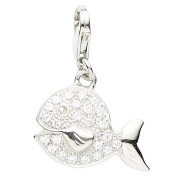 Basic 22.VX253 Silver Women's Charm Fish 925 Sterling Silver / White Zirconia