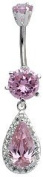 Blingbling GlitZ Belly Bar Stainless Steel Multiple Colour and Zirconium Crystal 10 mm