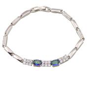 Fine jewellery Bracelets & bangles for women Blue Rainbow Mystic Topaz Silver Bracelet Wholesale & Retail 18cm 7.08 inch B357