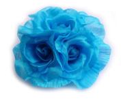 Turquoise Organza Flower Brooch.