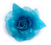 Organza Flower Brooch Turquoise