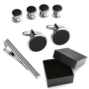 Zysta Stainless Steel Silver Black Luxurious Tuxedo Shirts Cuff Studs + Cufflinks + Tie Clip Set Men's Charms Wedding Jewellery + Gift Box
