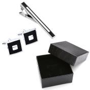 Zysta 3pcs Stainless Steel Classic Exquisite GQ Necktie Tie Clips + Cufflinks Set, Groom Wedding Business Shirt Men's Jewellery