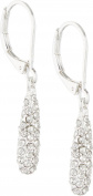 Anne Klein Base Metal Silver-Tone Pierced Earrings Featuring An Oval Drop with Crystal Stones