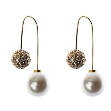 Double-Sided Pearl and Round Crystal Drops in Gold