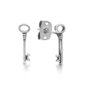 Disney Couture Alice in Wonderland White Gold-Plated Litte Key Stud Earrings