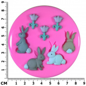 Cotton Tail Easter Bunnies with Spring Tulips Silicone Mould Mould for Cake Decorating Cake Cupcake Toppers Icing Sugarcraft Tool by Fairie Blessings