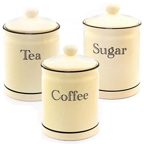 3pc tea coffee sugar kitchen storage canisters jar container pot set canister by bargains galore shop online for kitchen in singapore