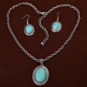 HongHu Women's Lightweight Jewellery Sets Tibetan Silver Oval Turquoise Pendant Necklace Earrings for Wedding Party