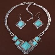 HongHu Chunky Tibetan Silver Rhombus Turquoise Bib Choker Earrings Necklace Set Jewellery Gifts for Women
