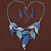 HongHu Xmas Gifts for Women Tibetan Silver Blue Leaf Crystal Bib Earrings Necklace Set