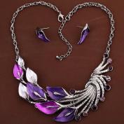 HongHu Tibetan Silver with Purple Peacock Crystal Pendant Earrings Necklace Set Women