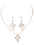 BEYOU Beautiful Things Women's Stainless Steel Gold Plated Cross Necklace Length 2.5 cm Length 40.6 cm and 1 Pair of Contour Large Contour Large Cross Pendant Set