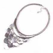 HongHu Tibetan Silver Cataphracted Chunky Bib Necklace Jewellery For Women
