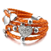 MENDINO Womens Heart Charms Braided Leather Orange Stainless Steel Bracelet with Gift Pouch