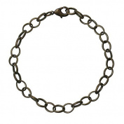 Ladies / 22163 / Charm Charm Bracelet 20cm Link bracelet with carabine - 7mm oval bronze