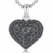 JOOLS by Jenny Brown ® Silver Pendant Featuring A Pave Set Black CZ Heart On a Diamond Cut Ball Chain