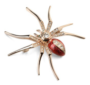 Acefeel 18K Rose Gold Finish Women's Spider Insert Animal Brooch with Red Clear Crystals Pin BR001