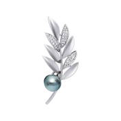 Flower Girl Jewellery Silver-tone Clear Crystal Grey Simulated Pearl Leaves Floral Lady Bouquet Brooch Pin