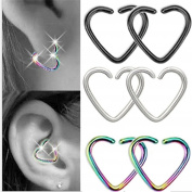 BODYA assoted 4 colours 18 gauge tiny niobium Heart Captive Ring daith Ear Cartilage Earring Rook tragus Helix piercing Jewellery