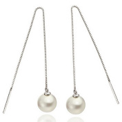 TININNA Elegant 925 Sterling Silver Faux Pearl Drop Dangle Earrings for Women Ladies Long