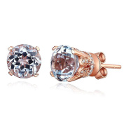 Vintage Style 14K Rose Gold Stud Clear Topaz Earrings Natural 0.12 Ct Diamonds