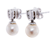 HutangJewelry 925 Sterling Silver 7.5MM White Freshwater Pearl And Cubic Zirconia Dangle Earrings