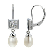 HutangJewelry 925 Sterling Silver White Freshwater Pearl Freshwater Pearl Dangle Earrings