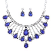 Yazilind Silver Plated Blue Crystal Rhinestone Chunky Choker Necklace Dangel Earring Jewellery Set for Women