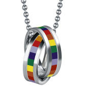Fengteng Lesbian & Gay Pride LGBT Homosexual Stainless Steel Double Rings Pendant Rainbow Necklace