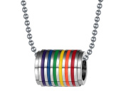 Fengteng Stainless Steel Gay Rainbow Cylindrical Rolling Tunel Pendant Gay & Lesbian LGBT Pride Necklace, 60cm Ball Chain