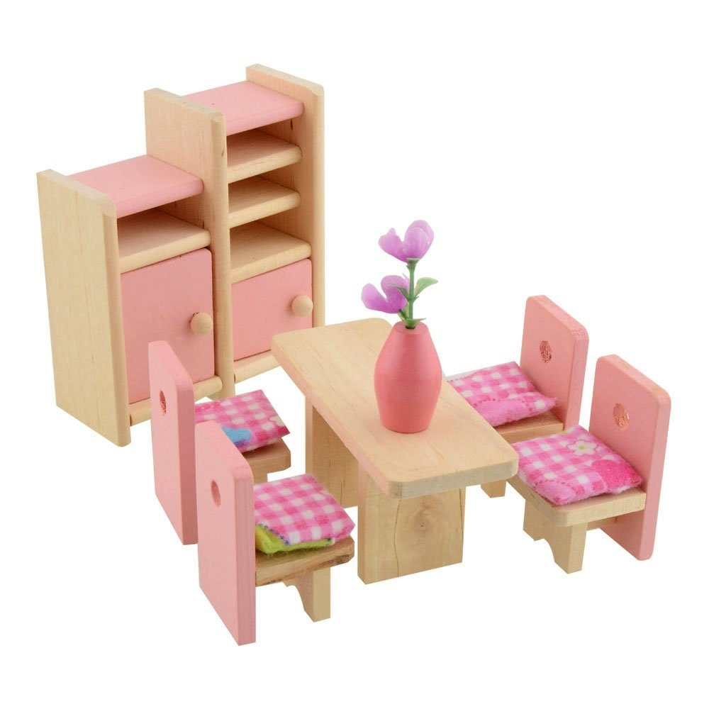 Dreams Mall Wooden Doll House Furniture Set Toy For Baby Kids
