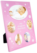 BabyRice 'My Magical First Year' New Newborn Baby Girl 5 Photo Timeline Stage Frame Pink White