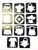 #18 Refill Stencils Only - 11 X Minion Glitter Tattoo Stencils Face Painting And Airbrush Stencils