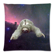 Sloth Nebula Galaxy Space Universe Cushion Case - Throw Pillow Case Decor Cushion Covers Square with Invisible Zipper Closure - 46cm x 46cm , Twin-sided Print